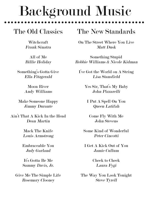 20 Jazz Standards For Your Dinner Party Playlist Party Playlist Jazz Standard Wedding Songs
