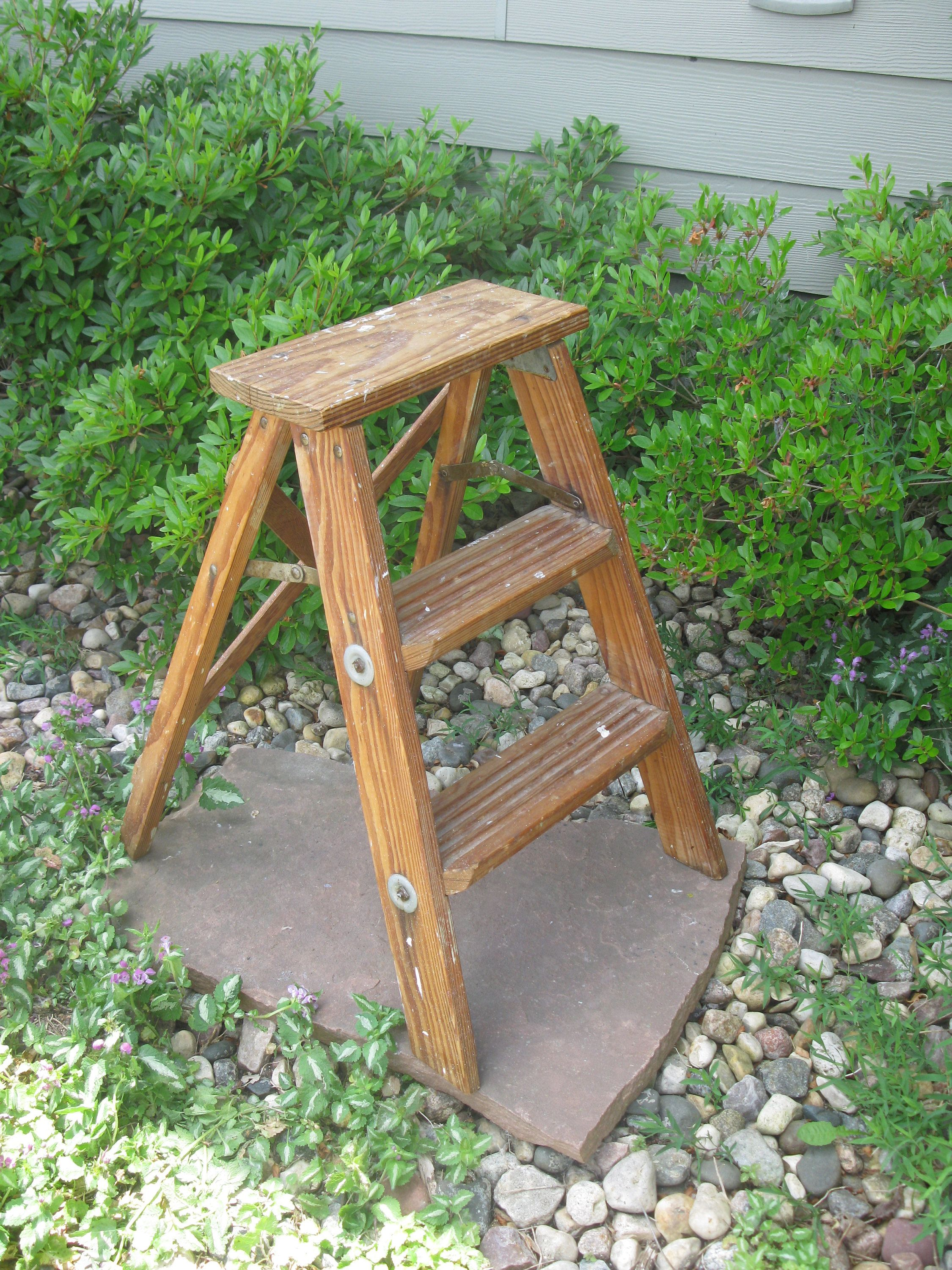 Vintage Wooden Step Ladder Step Stool Folding Ladder Plant Stand Rustic Shabby Primitive Distressed Wood Ladder Wooden Steps Wood Ladder Step Ladders