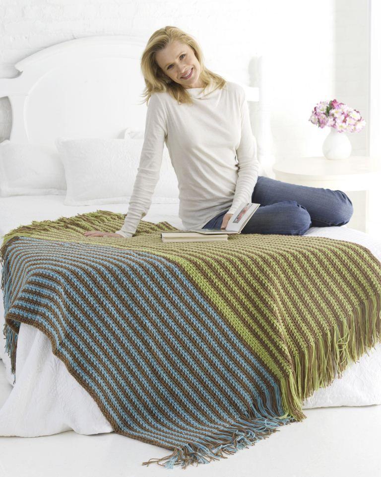 Warm Stripes Afghan   Manta