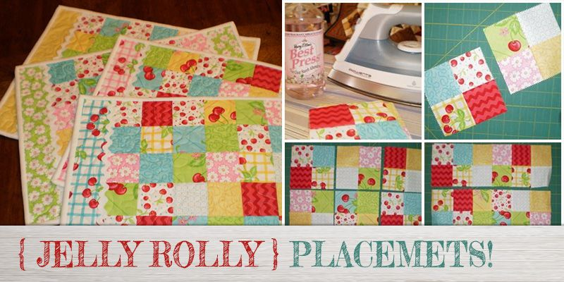 Jelly Roll Quilted Placemat Pattern Sewing For Beginners Placemats Patterns Quilted Placemat Patterns Beginner Quilt Patterns