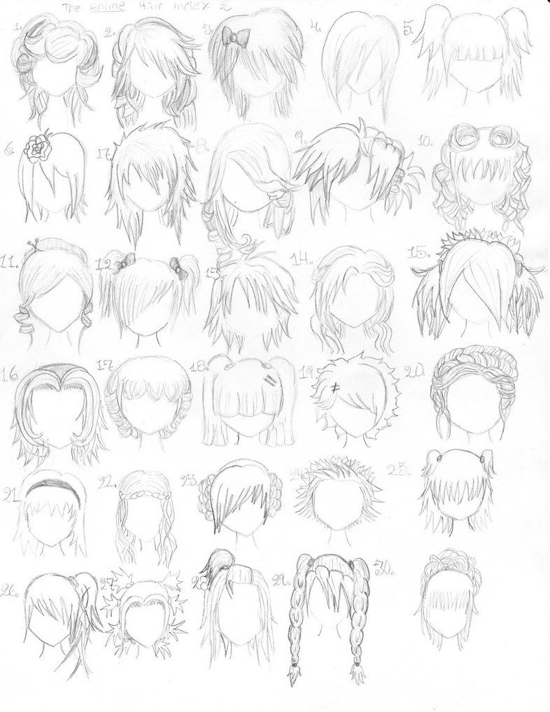 HandDrawn Hair styles page 2 Anime hair, How to draw