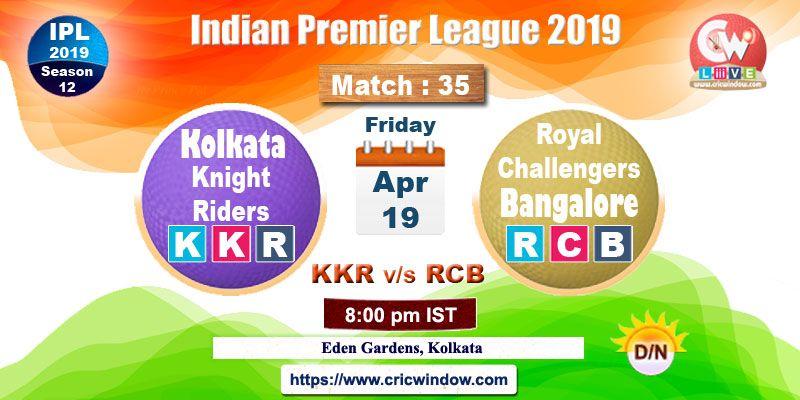 Kkr Vs Rcb Live Match Action Ipl Live Matches Live Video