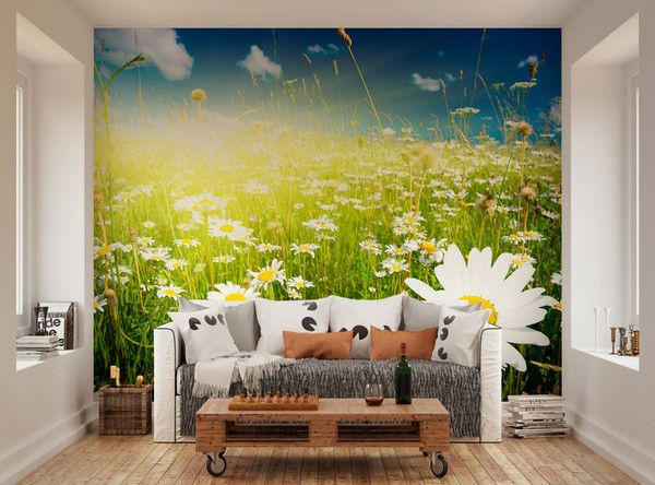 Sunshine Daisy Wallpaper Mural bright & sunny feature wall for kids ...