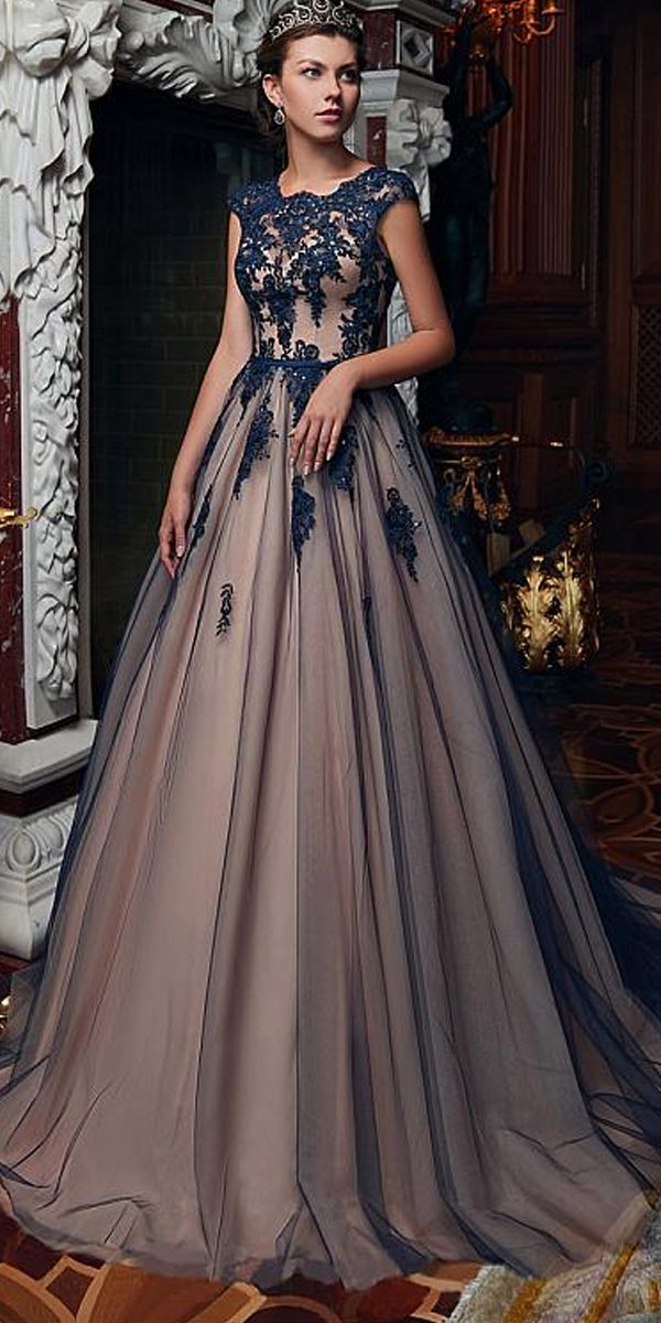 [145.19] Classic Tulle Jewel Neckline Floor-length A-line Prom Dresses With Beaded Lace Appliques