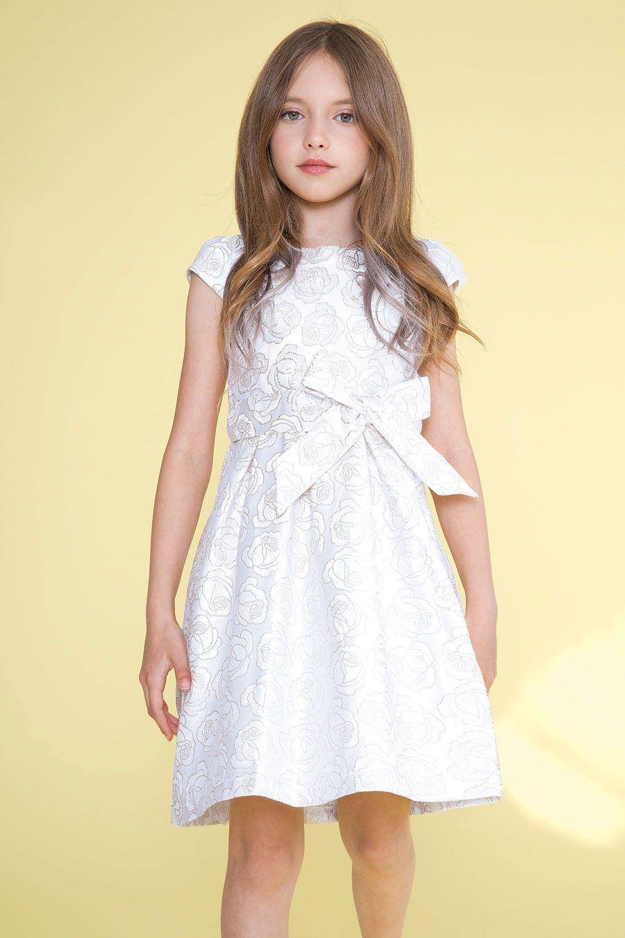 bb11d674f1ec CA_D1100SV - Girls Dress Style 1100 - Short Sleeve Short Jacquard Dress in  Choice of Color