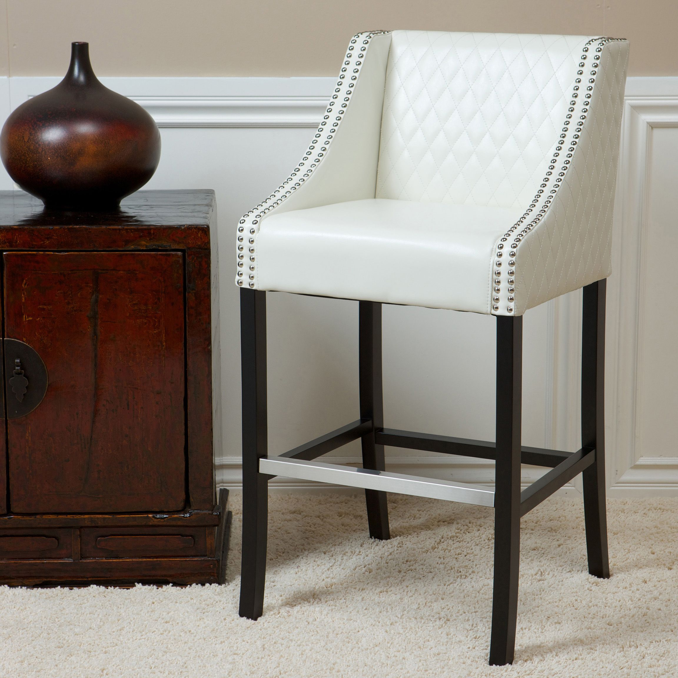 Milano 28 Inch Quilted Ivory Bonded Leather 28 Inch Barstool By