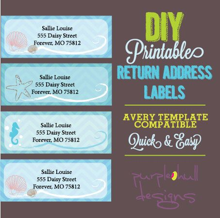 Ocean Beach Return Address Labels Turquoise, Avery Template, DIY