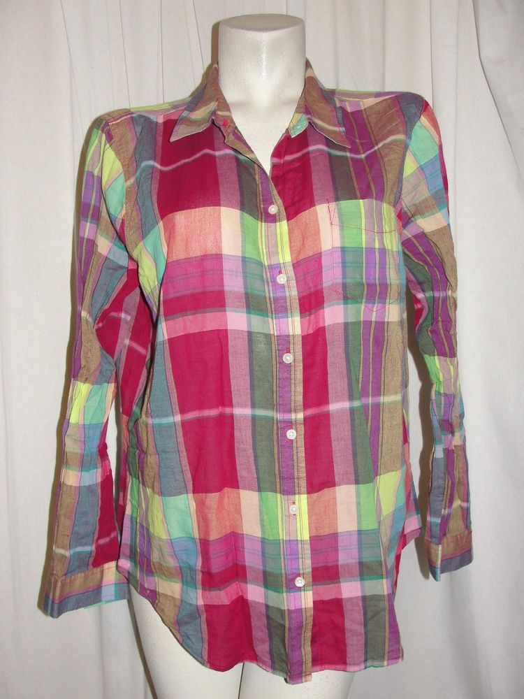 14a5a43f Old Navy Top Women's Size XL Pink Green Blue Yellow Cotton Plaid Button  Shirt #OldNavy #Blouse #Casual