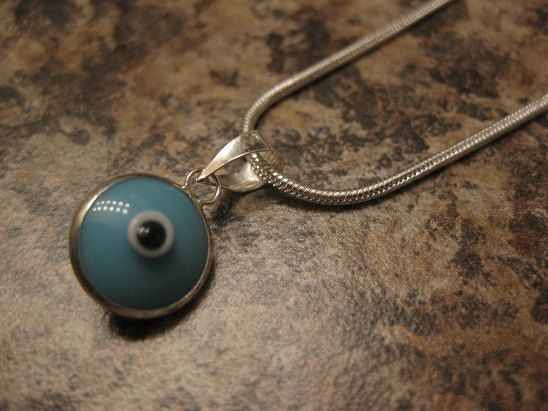 evil eye necklace, evil eye jewelry, sterling silver jewelry, .925 sterling chain and evil eye charm, blue evil eye pendant, evil eye charm