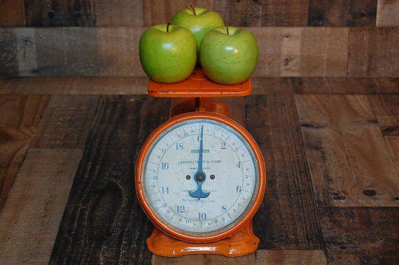 Vintage Farmhouse Family Scale 25lb Vintage Orange Paint Cool