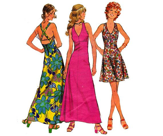 70s Halter Maxi Dress Pattern Simplicity by allthepreciousthings