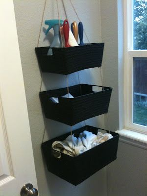 hanging basket storage . . . tie wicker baskets together and hang from the wall or ceiling.