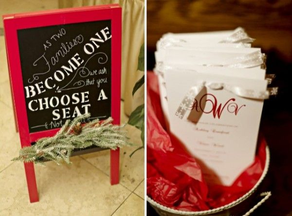 Christmas Wedding Ceremony Details |  Ashley and Vince's Antebellum Christmas Wedding | http://www.weddingfavorsunlimited.com/bridal_blog/2014/12/24/ashley-and-vinces-antebellum-christmas-wedding/