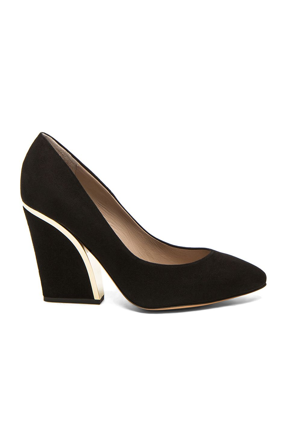 a7ed4a6e5db5 Image 1 of Chloe Suede Gold Trim Pumps in Black
