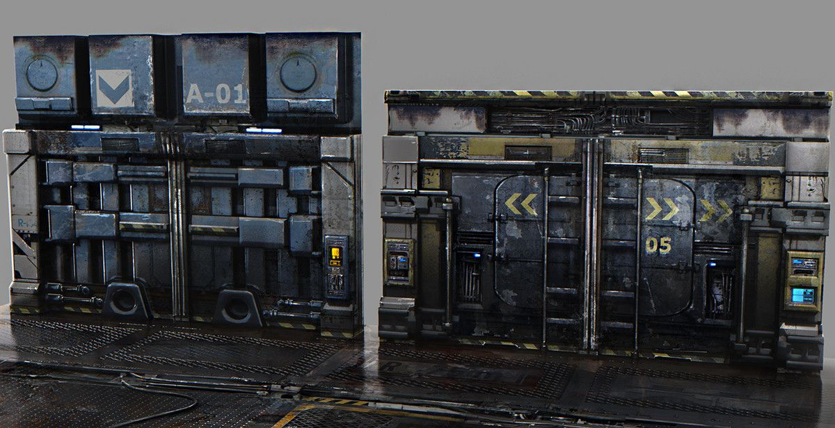 Star citizen asteroid hangar door concepts nicolas ferrand on artstation at https www - Several artistic concepts for main door ...