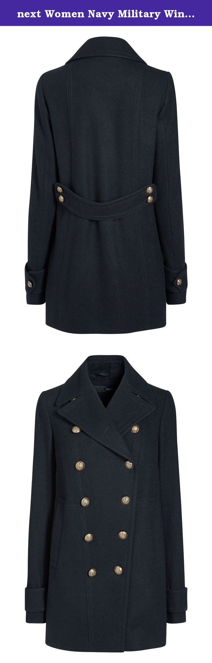 next Women Navy Military Winter Warm Pea Coat Top Petite Fit ...