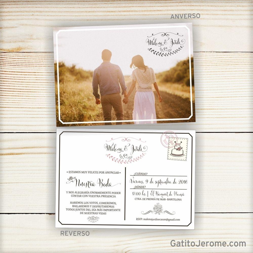 Invitación BODA Postal Vintage | Wedding invitations with pictures, Photo  wedding invitations, Wedding cards