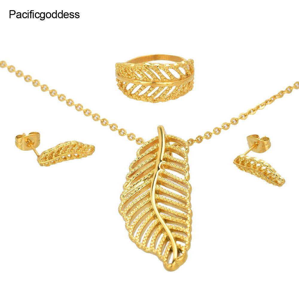 Gold color leaf sharp jewelry set stainless steel wedding elegant