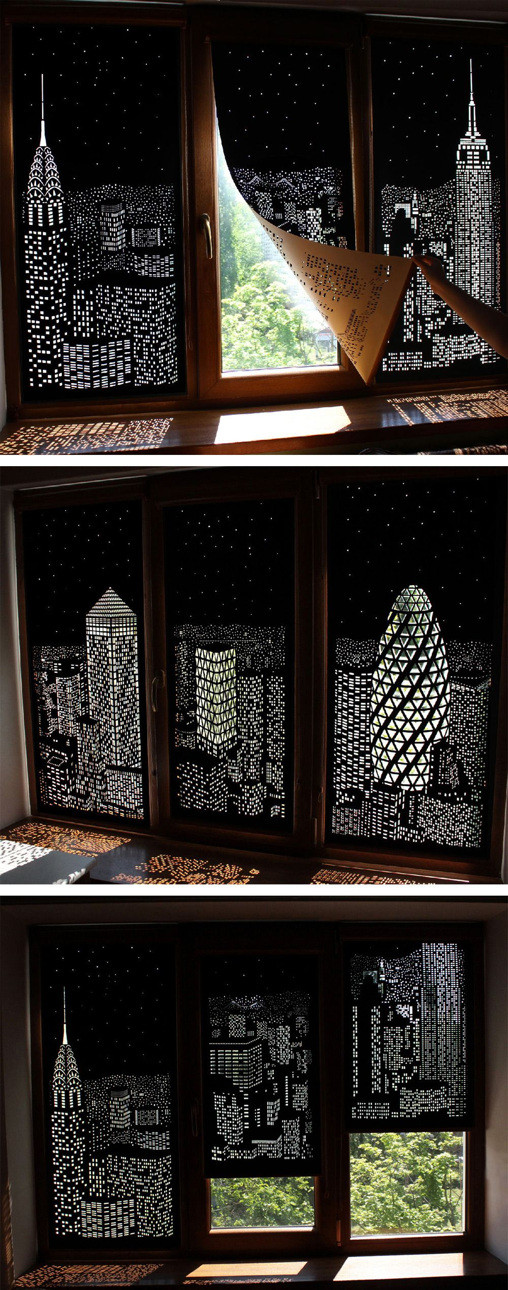 Buildings And Stars Cut Into Blackout Curtains Turn Your Windows Nighttime Cityscapes