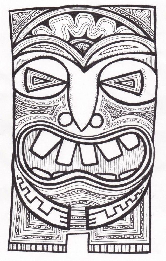 tiki mask template cliparts art education pinterest tiki