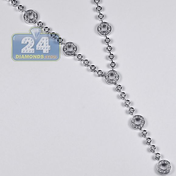 64a034208f0 14K White Gold 1.62 ct Diamond Station Y Shape Necklace 16 Inches in ...
