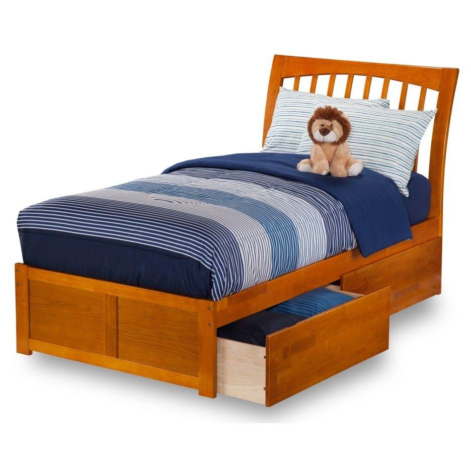 Bedroom Extra Long Light Brown Varnished Wooden Kids Platform Bed