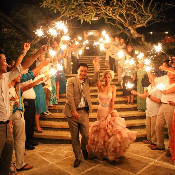 36 Inch Long Wedding Sparklers Being Used For An Asian And American Wedding Sparkler Exit