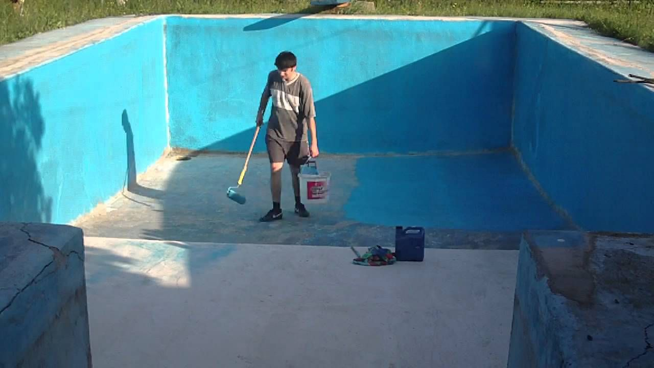 Painting the swimming pool - YouTube | Ramuc Pools ...