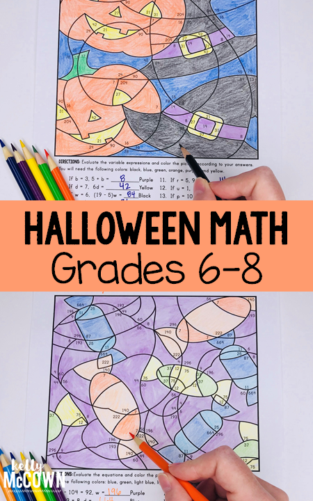 Halloween Math Coloring Pages For Grades 6 7 8 Review Algebraic Expressions And Equati Halloween Math Halloween Math Middle School Halloween Math Activities