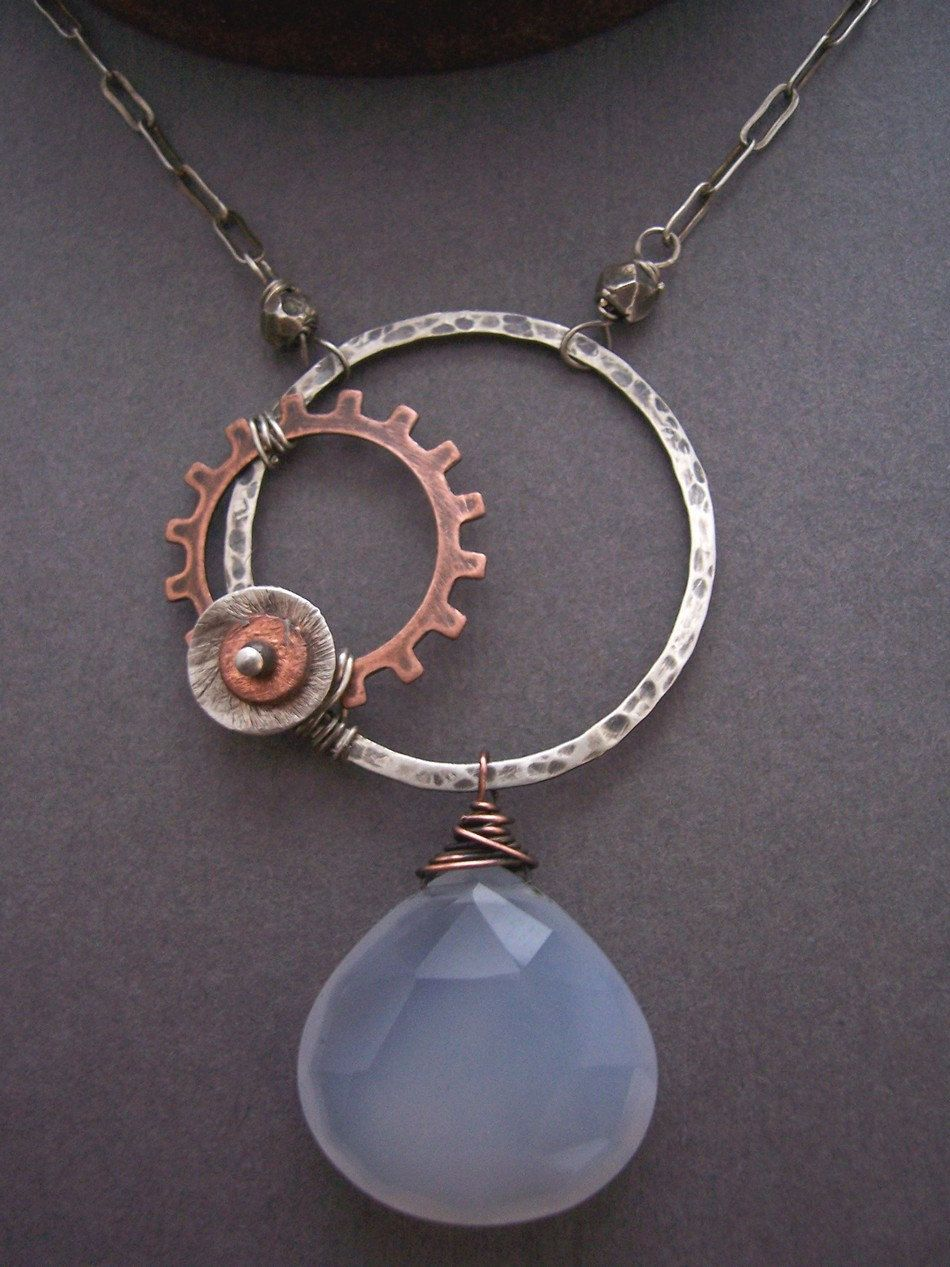 Industrial Evolution Asymmetrical Necklace with Blue Chalcedony by