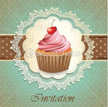 Vintage Card With Cupcake Stock Illustration 12632605