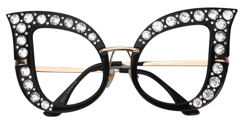 Diamond Cat Eye Black Eyeglasses Diamond Cat Glasses Fashion Women Eyeglasses
