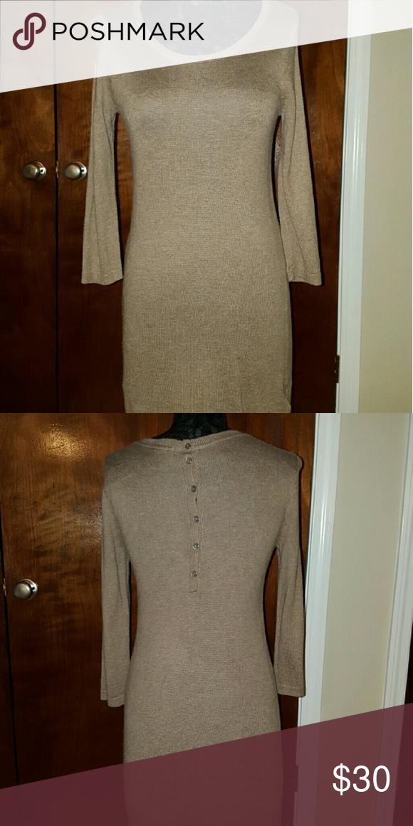 Sweater Dress Tan sweater Dress, back buttons, a little above knee length H&M Dresses Long Sleeve