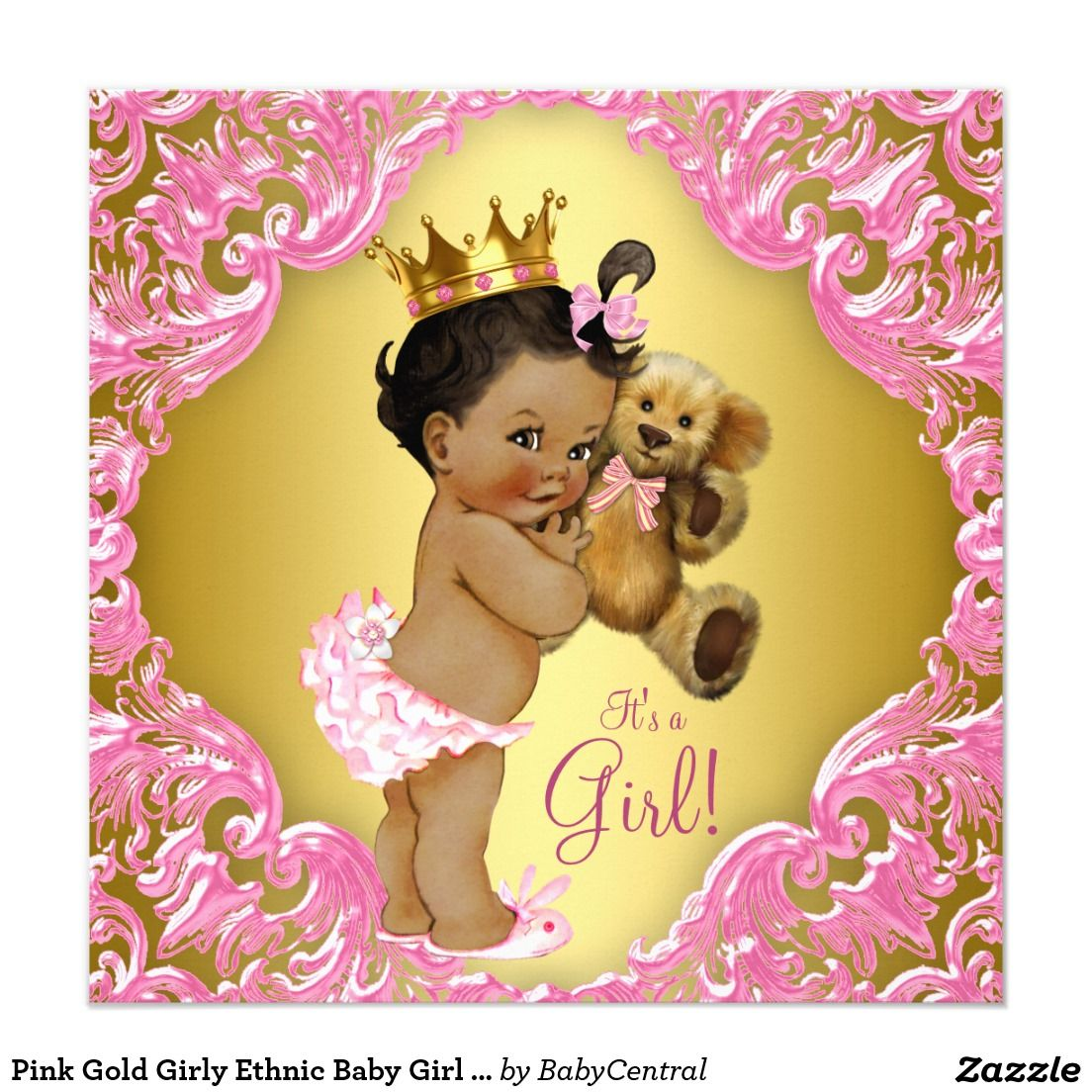Pink Gold Girly Ethnic Baby Girl Teddy Bear 5.25x5.25 Square Paper ...
