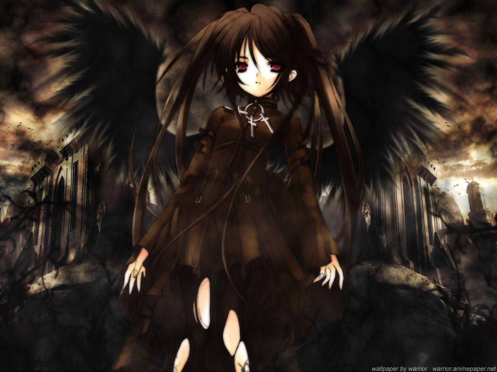 Angels Anime Anime Girls Black Brunettes Wallpaper 162810 Wallbase Cc Gothic Anime Black Angels Anime