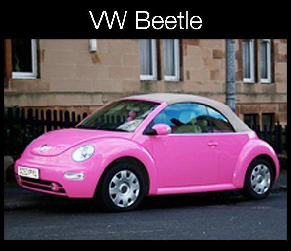 Bayanlar Sizler Icin Harika Pembe Renkli Araba Modellerini Inceledik Ve Sunuyoruz Icide Disida Pembe Araba Cicisler In Fotografl Vw Beetle Beetle Cabrio Pembe