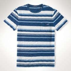 Indigo Striped Cotton T-Shirt - Polo Ralph Lauren Tees - RalphLauren.com