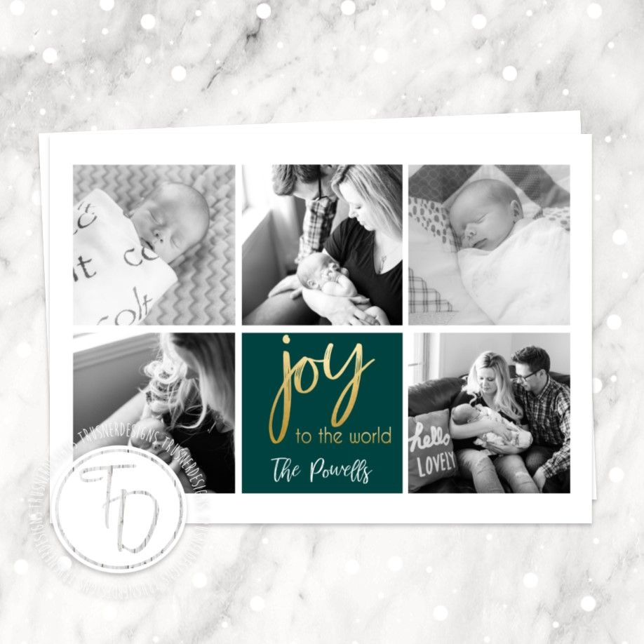 Collage Christmas Card, Birth Announcement Christmas Card, Photo ...