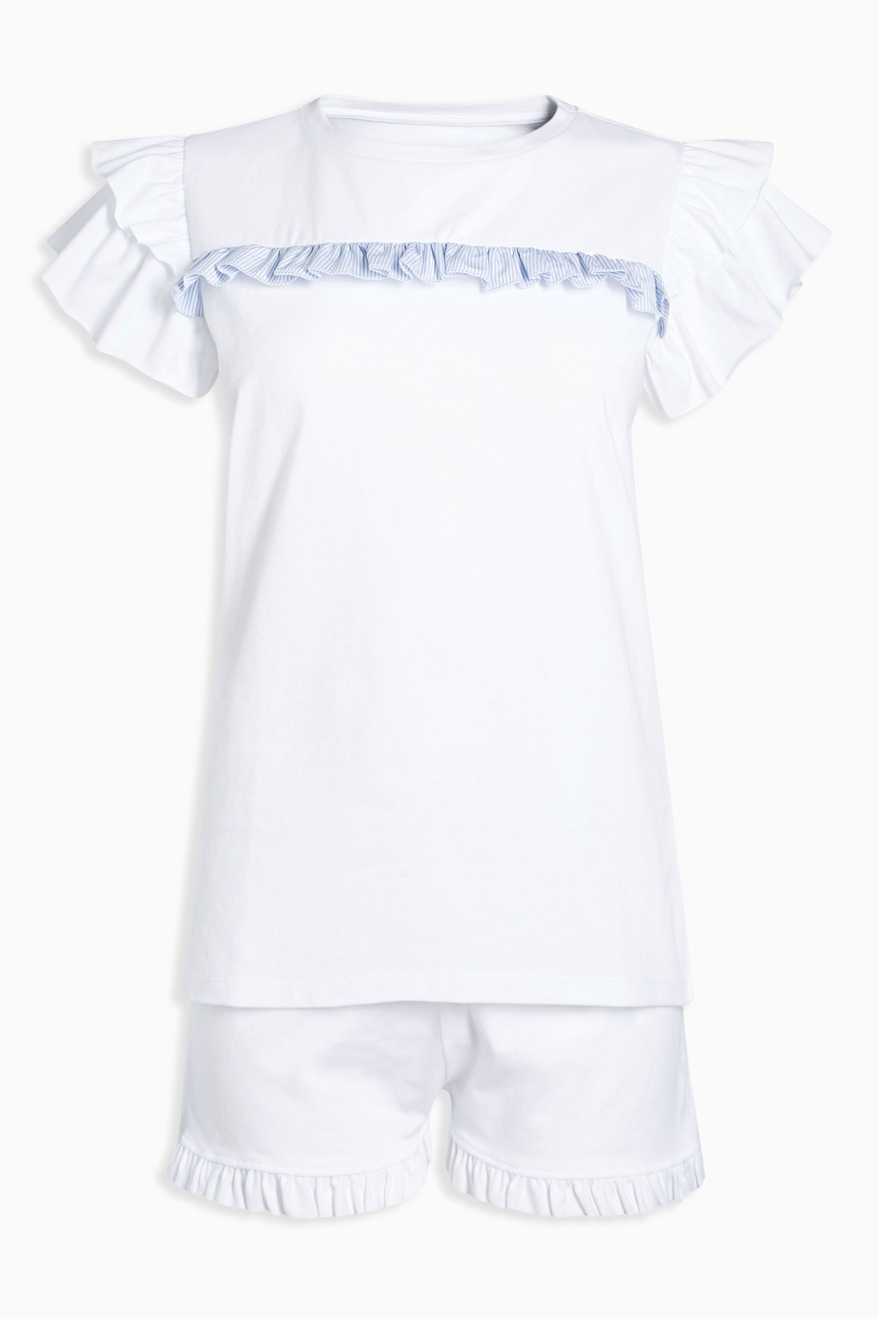 8c42b2e6be Buy Blue White Ruffle Jersey Sleep Set from Next Mexico