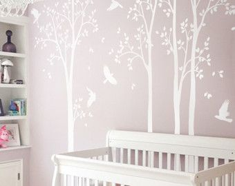 White Tree Decal Large Nursery Tree Decals With Birds Unisex White Tree  Decals Wall Tattoos Wall Mural Removable Vinyl Wall Sticker 032 Part 38