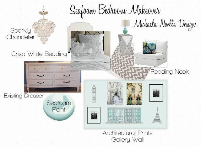 Seafoam green and gray bedroom