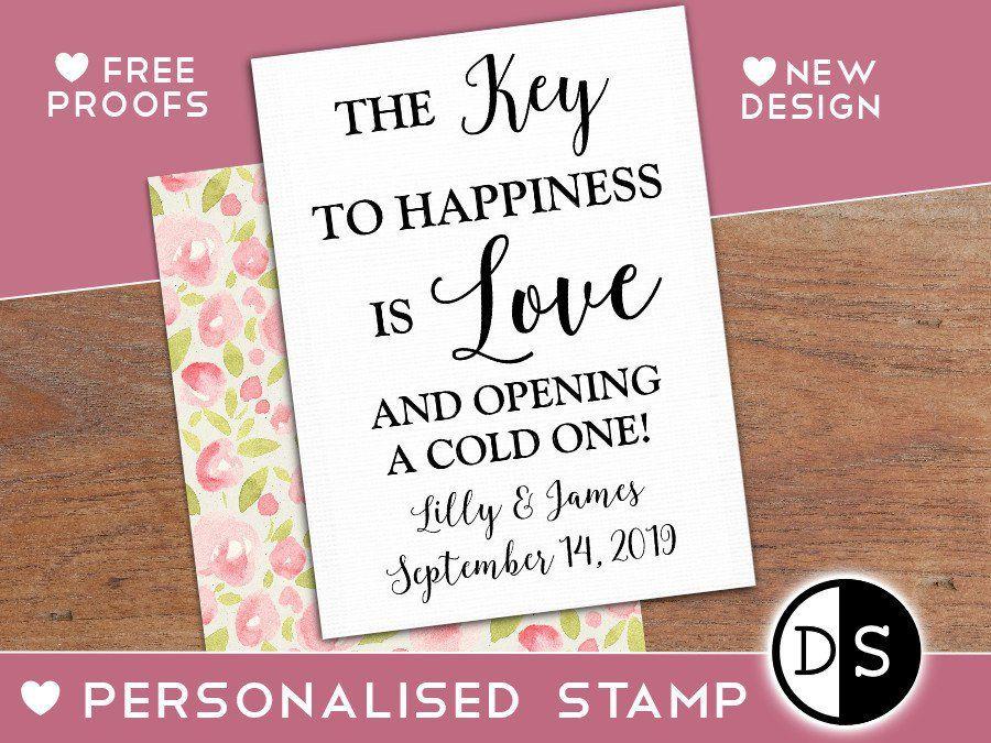 Key To Happiness Stamp Custom Wedding Stamp Wedding Favor Stamp
