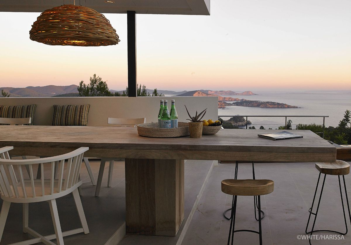 wooden outdoor dining table sea views terrace modern house in  - wooden outdoor dining table sea views terrace modern house in ibizaspain