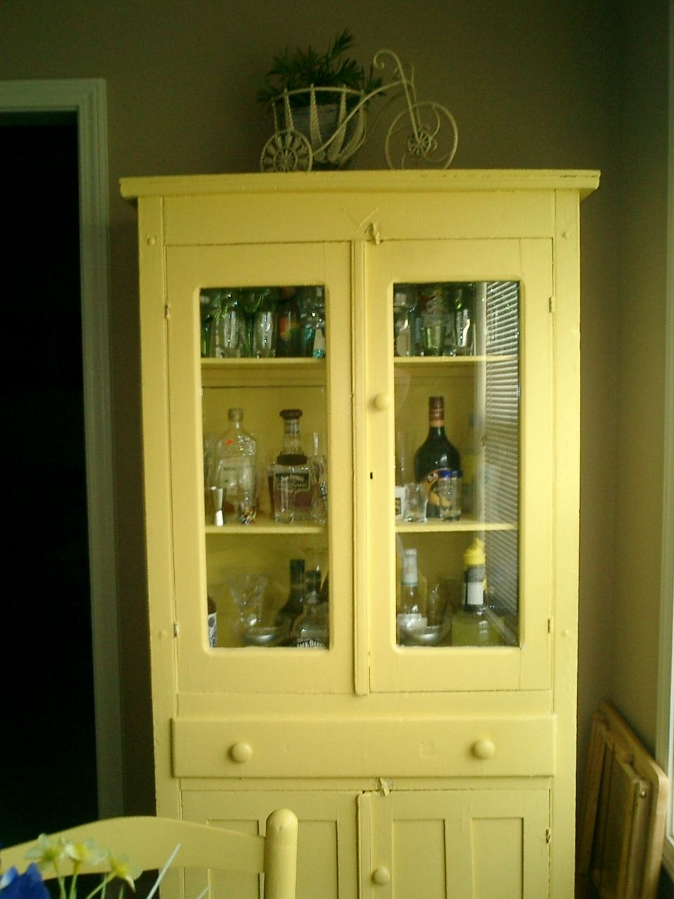 My old pie safe......now a liquor cabinet with glass storage ...