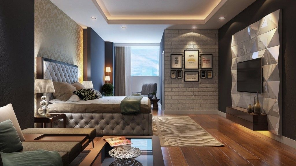 Beauteous Womens Bedroom With Floating Tv Mounted On Glamorous Wall Panel  And Floating Wooden Storage And