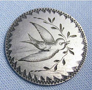 Hand-engraved bird love token