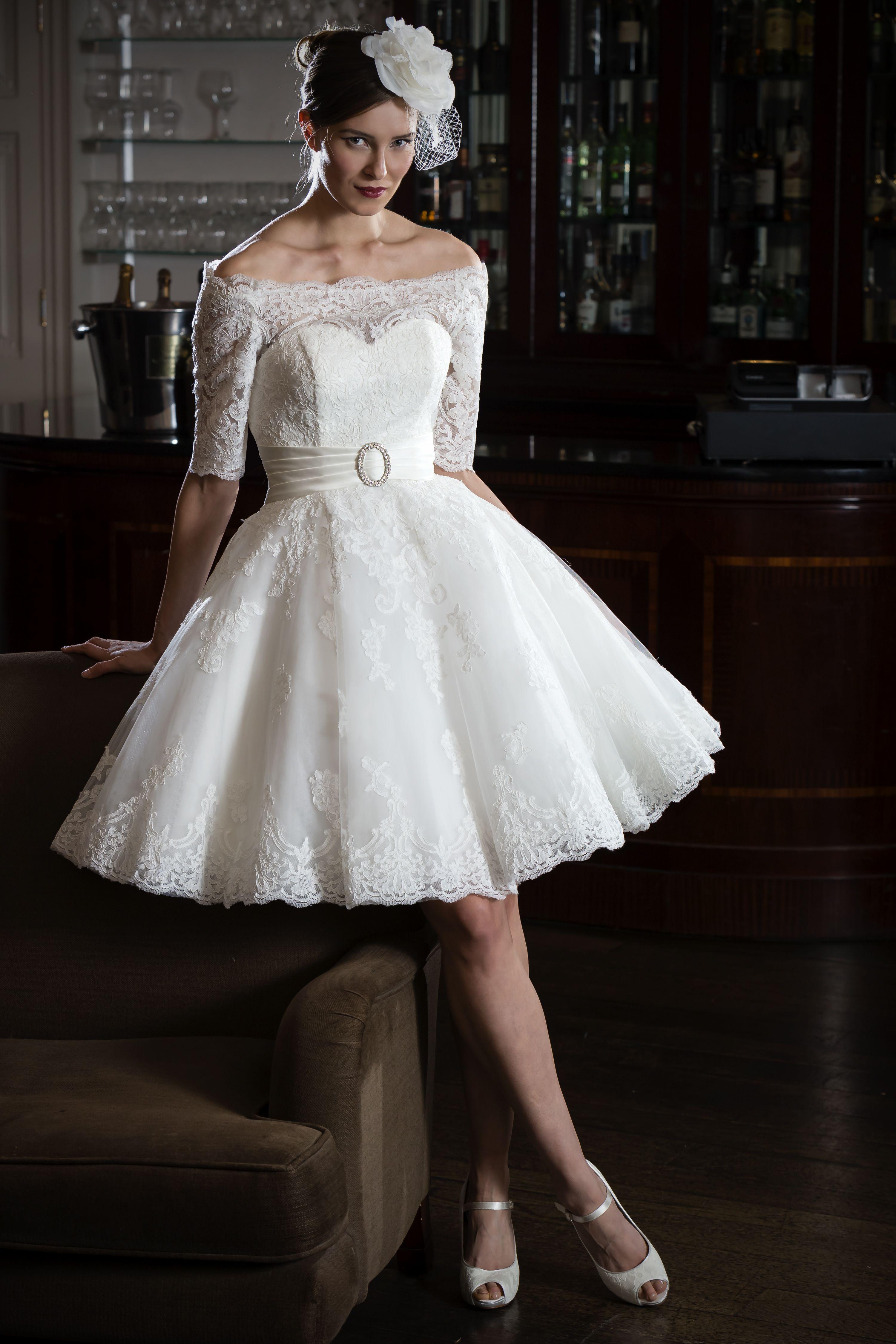 Off the shoulder tea length wedding dress  Nicki Flynn Gia  Toni bridal  Pinterest  Lace bodice Tea length