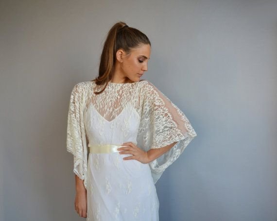 Lace wedding dress, kimono sleeves wedding dress, wedding lace dress ...