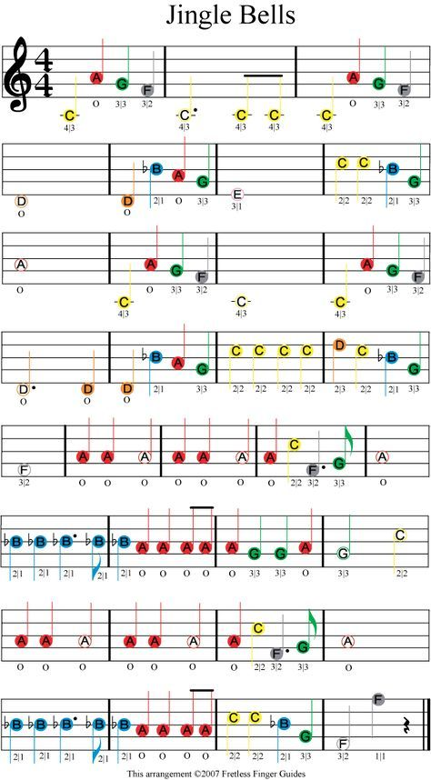 jingle bells easy color coded violin sheet music | Piano | Pinterest ...
