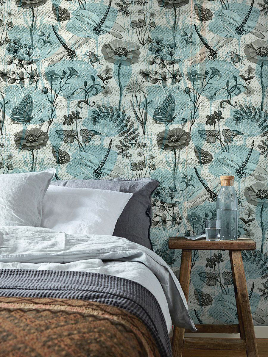 Botanical insects removable wallpaper blue and beige92